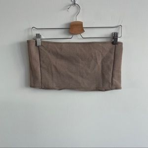 Handmade - Tube Top - Contrast Stitching - Brown